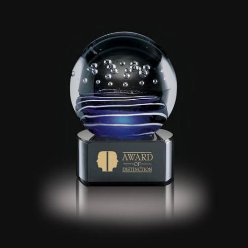 Tranquility Hand Blown Art Glass Sphere Award on Black Optical Crystal Base