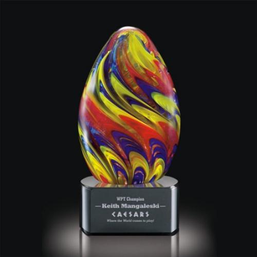 Hibiscus Multi Color Art Glass Egg Award on Black Optical Crystal Base