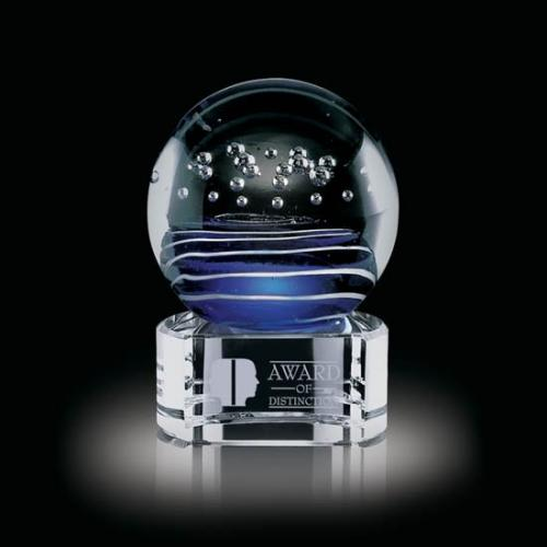 Tranquility Blue Art Glass Sphere Award on Black Optical Crystal Base