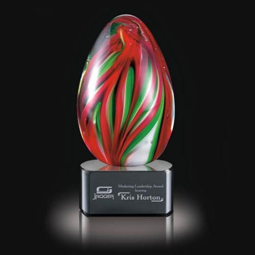 Bermuda Red & Green Art Glass Egg Award