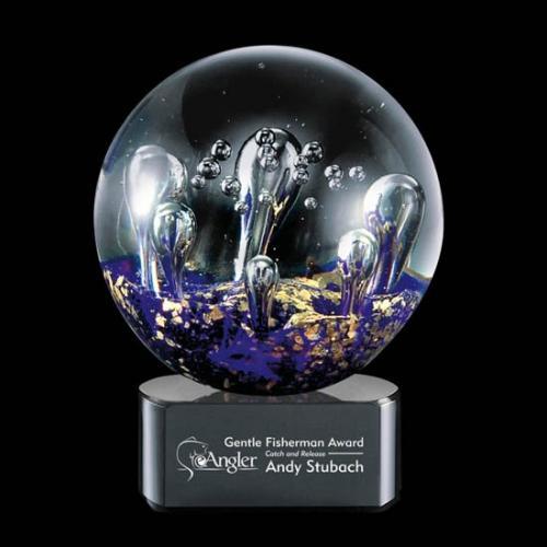 Serendipity Purple & Gold Art Glass Sphere Award on Optical Crystal Base