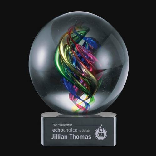 Galileo Hand Blown Multi Color Art Glass Sphere Award on Optical Crystal Base