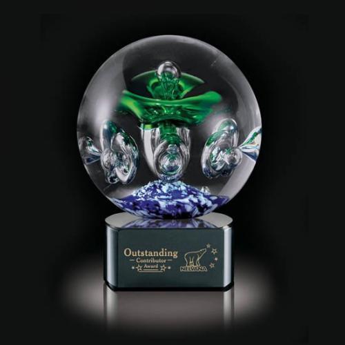 Green & Blue Aquarius Sphere Glass Award on Black Base
