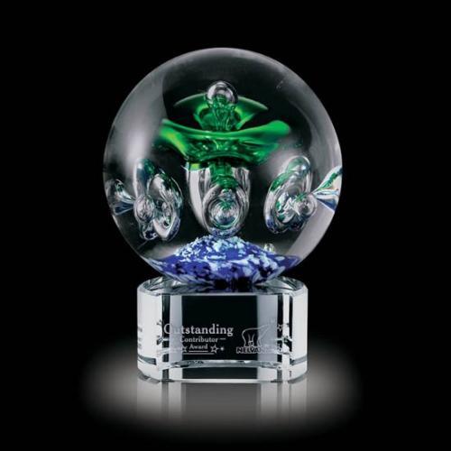 Green & Blue Aquarius Sphere Glass Award on Clear Base