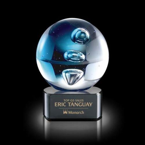 Zoltan Art Glass Sphere Award on Black Base
