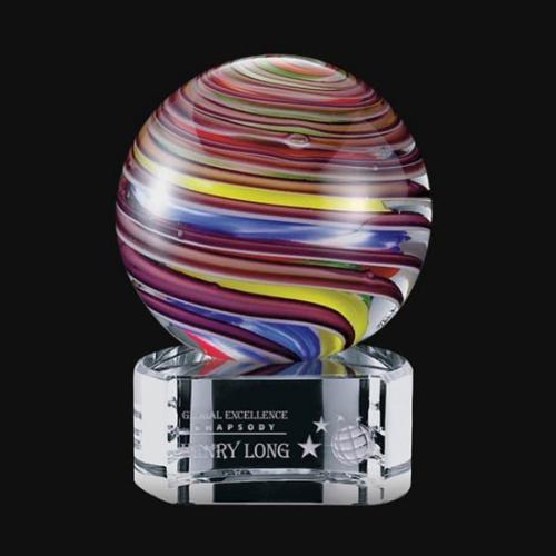 Lunar Multi Color Art Glass Sphere Award on Crystal Base