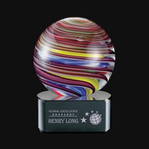 Lunar Multi Color Art Glass Sphere Award on Black Base