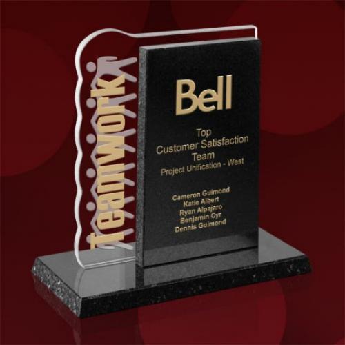 Teamwork Starfire Glass Award in Black Granite Base