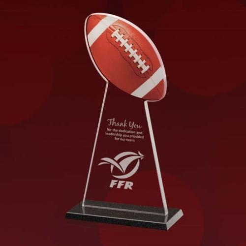 Starfire Glass Football Tower Award with Colored Football & Granite Base