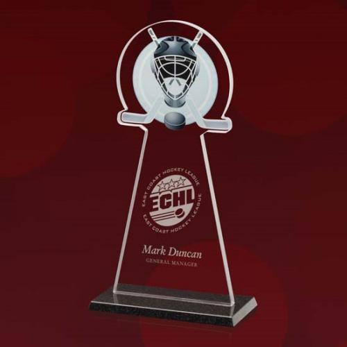 Starfire Glass Hockey Tower Award on Granite Base