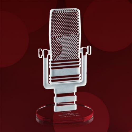Microphone Starfire Award on Circle Base