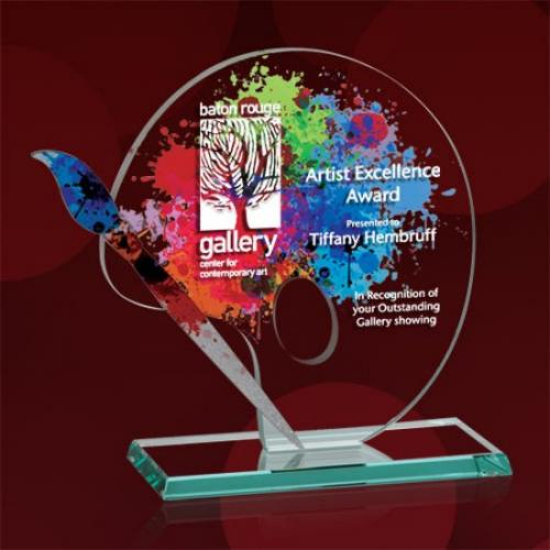 Multicolor Starfire Artist Palette Award with Aluminum Accent