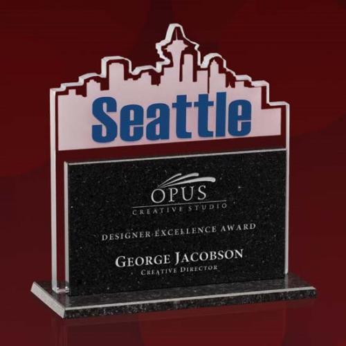 Seattle Skyline Jade Glass & Black Granite Rectangle Award