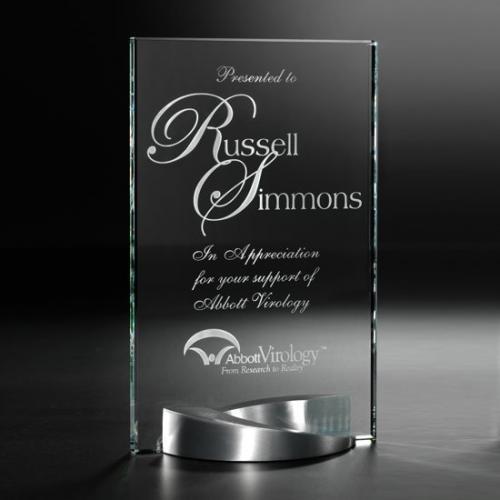 Mobius Crystal Tower with Metal Base Award