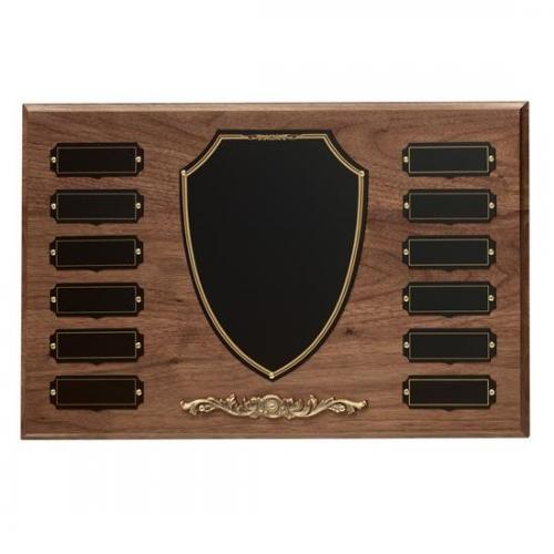 Perpetual Walnut Shield Plaque with Bronze Finish Base