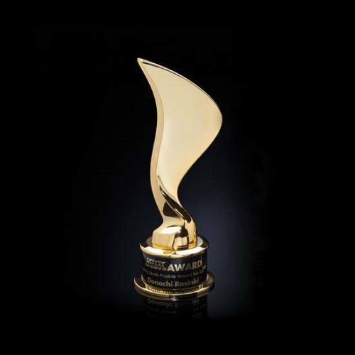 Gold Cast Metal Eternal Flame Award on Black Base