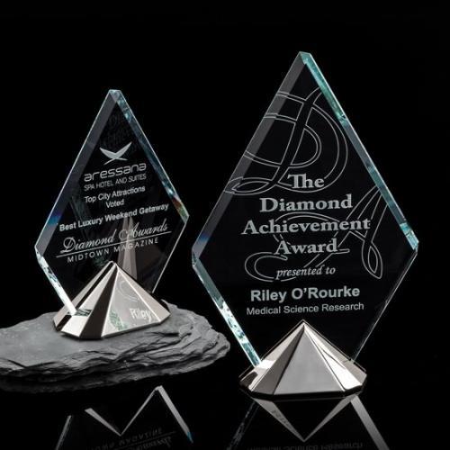 Celestial Starfire Crystal Diamond Award on Silver Tone Cast Metal Pyramid Base