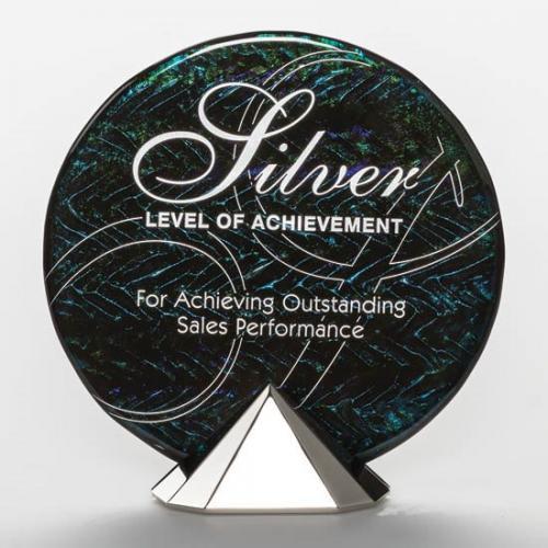 Cosmos Round Art Glass Award on Pyramid Base