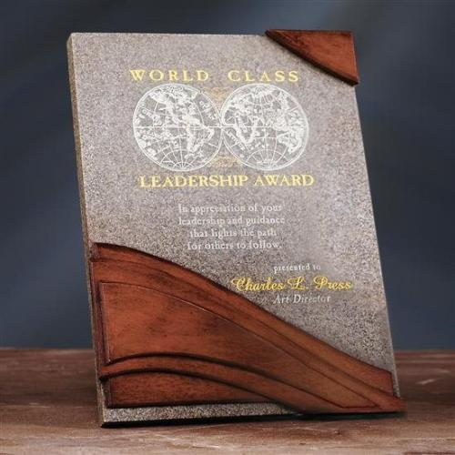 Wave Stonecast Plaque with Wood Finish
