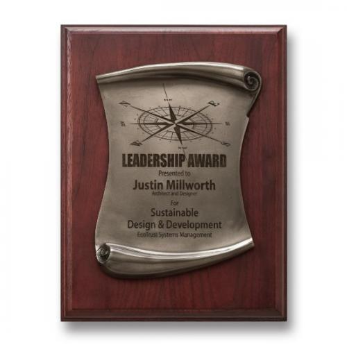 Stonecast Rectangle Plaque with Silver Scroll