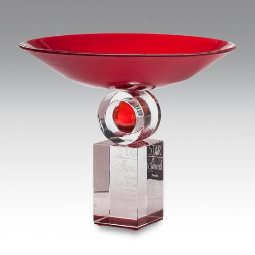 Reflections Red Bowl Custom Awards on Clear Base