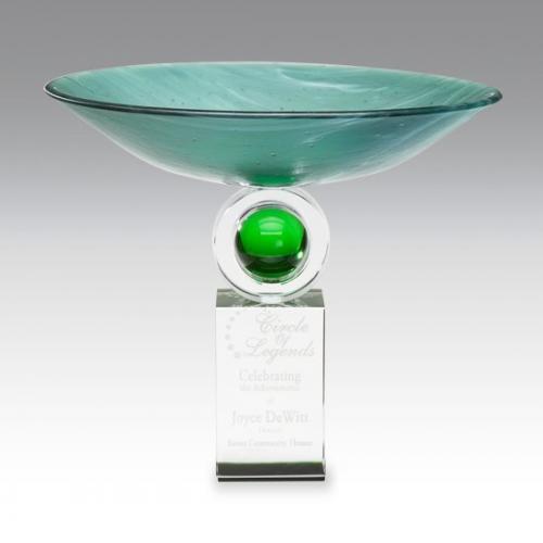 Reflections Green Art Glass Bowl Award on Clear Optical Crystal Base