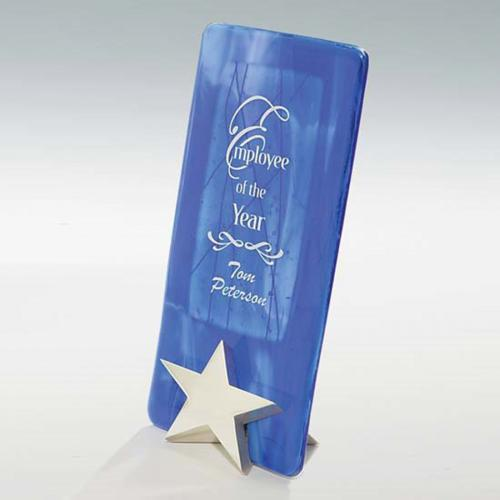 Blue & Silver Art Glass Award with Cast Metal Star Base