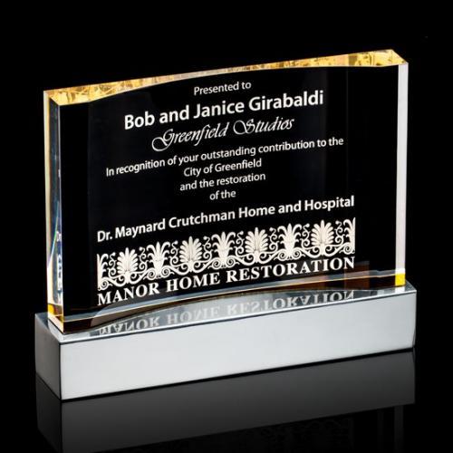 Curved Acrylic Award with Aluminium Base & Gold Edges