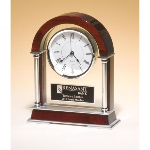 High Gloss Glass Clock on Rosewood Piano Finish Base with Metal Accents
