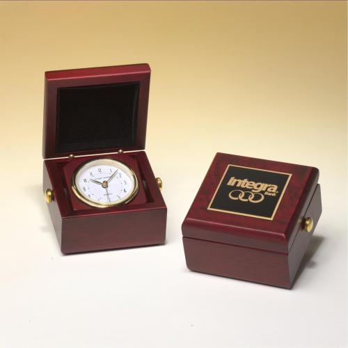 Miniature Desk Clock with Rosewood Case & Gold Accents