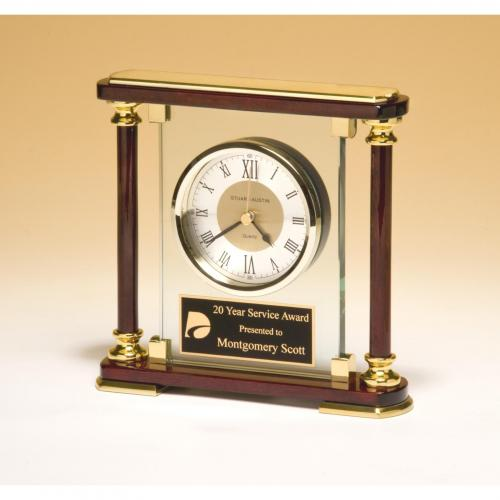 Glass & Rosewood Piano Finish Clock with Gold Accents
