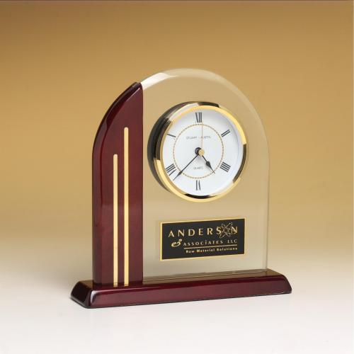 Arched Glass Clock with Rosewood Base & Side Post with Gold Accents