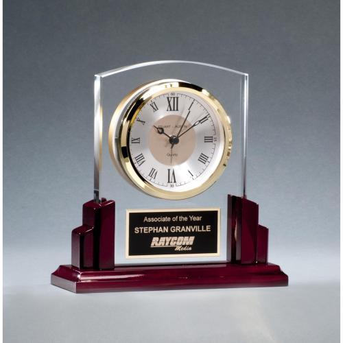 Glass Clock Award with Rosewood Base