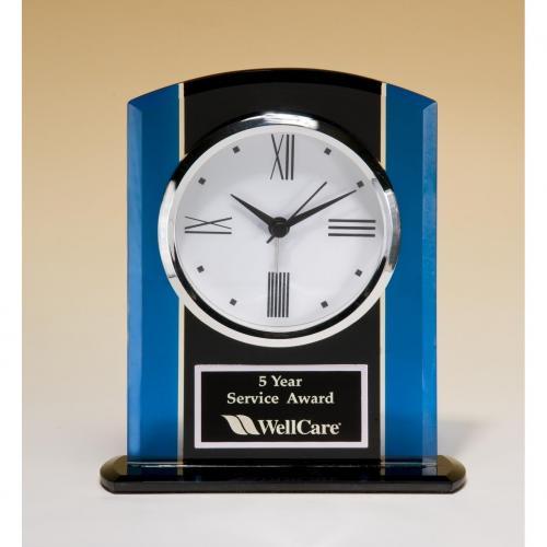 Black & Blue Glass Clock with Silver Bezel