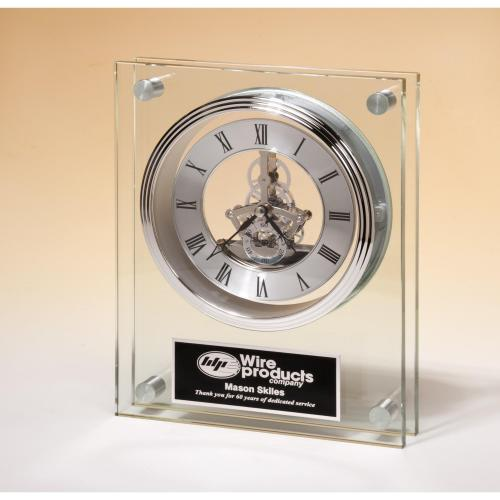 Large Glass Clock Award with Silver Accent