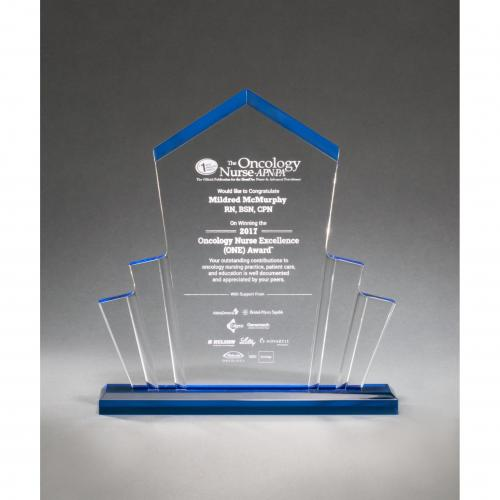 Tower Spotlight Acrylic Awards with Blue Accent