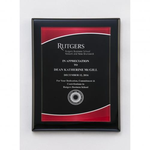 Black Acrylic Piano Finish Plaque with Red Border