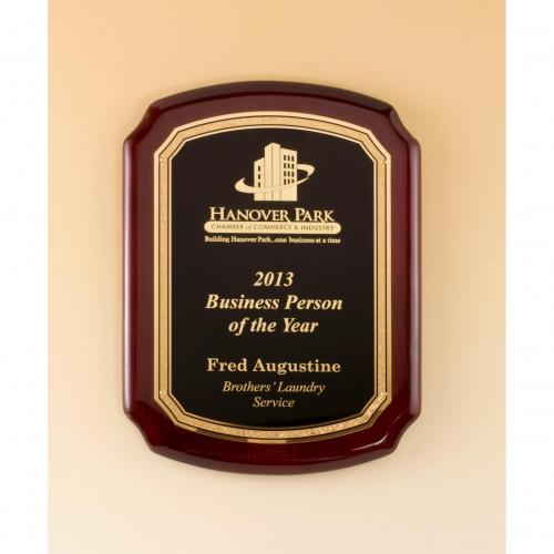 Rosewood Piano Finish Plaque with Florentine Border & Black Plate