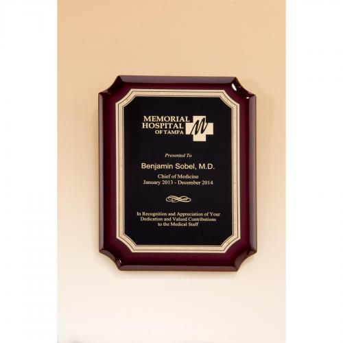 Rosewood Piano Finish Plaque with Florentine Border & Brass Plate