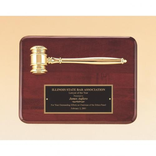 Rosewood Piano Finish Plaque with Metal Gold Gavel