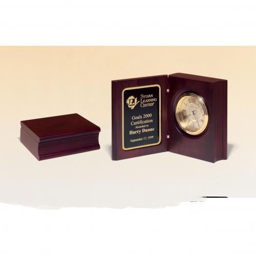 Mahogany Finish Book Clock Award