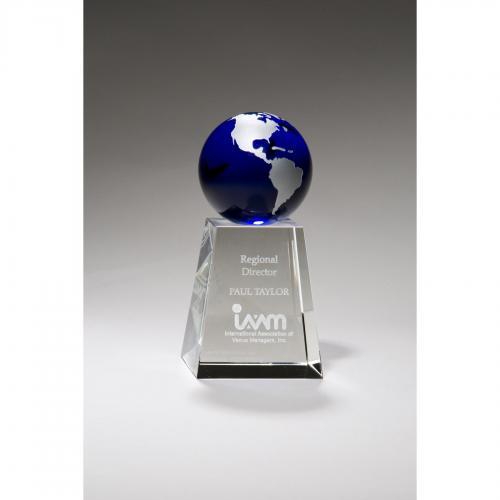 Blue & Chrome Silver Globe on Crystal Base