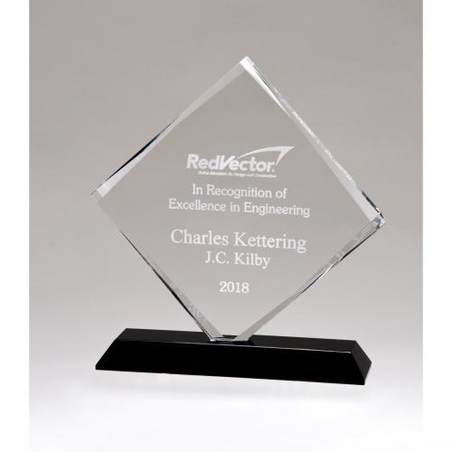 Clear Optical Crystal Diamond Award on Black Crystal Base