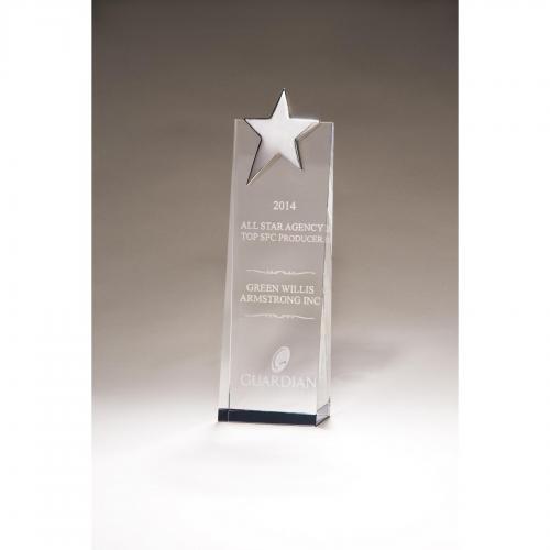 Crystal Star Tower Award with Chrome Star