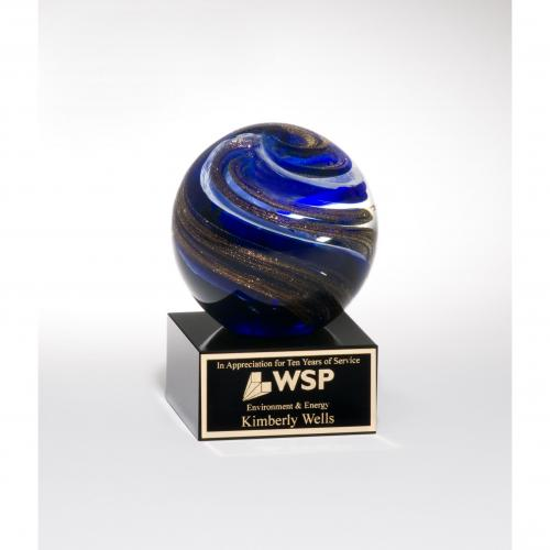 Gold & Blue Art Glass Globe Award on Black Glass Base