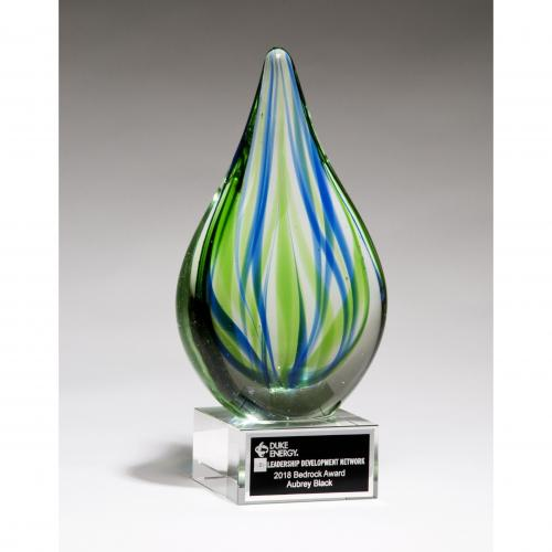 Droplet-Shaped Art Glass Award with Clear Glass Base