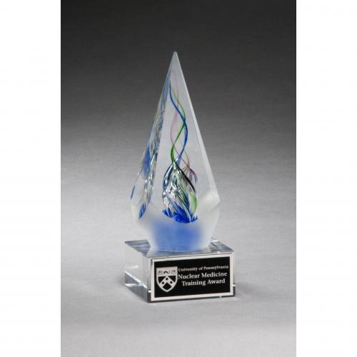 Arrow Shaped Art Glass Award on Clear Glass Base