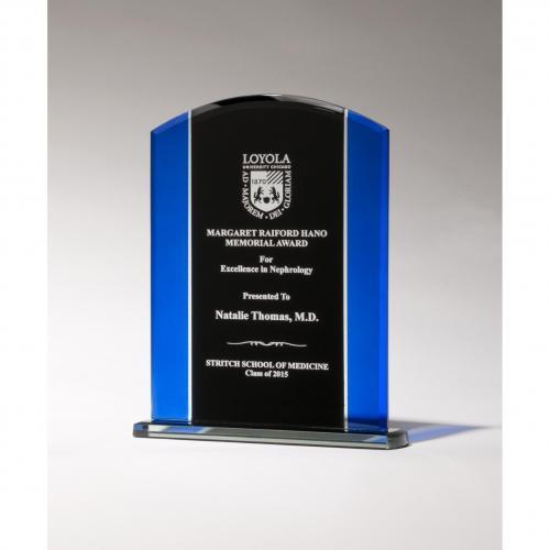 Blue & Black Art Glass Plaque with Black Base