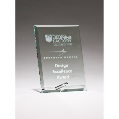 Clear Glass Award with Silver Easel Post