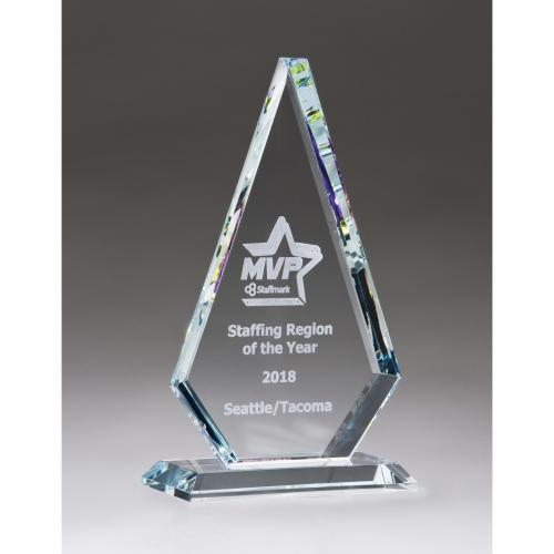 Diamond Series Glass Award with Prism Effect Edges